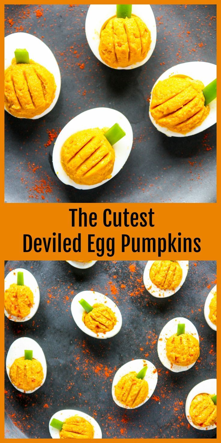 These cute little deviled egg pumpkins are amazingly simple, and delicious. (no pumpkin is required!) Perfect for adding a savory element to your Halloween party amidst all the sweet treats #halloween #deviledeggs