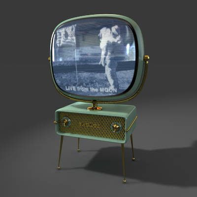 Philco Predicta - ca.1959.  (This TV set was built 10 years before the moon-landing image being shown on the screen.)