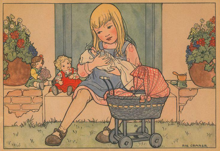 Poppenmoeder zittend - Rie Cramer
