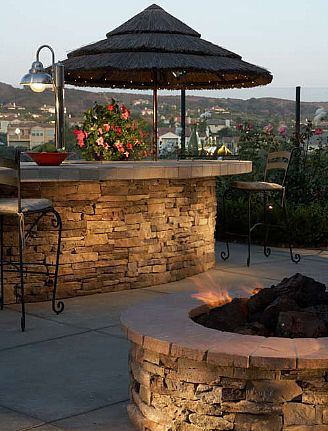Cultured stone firepit