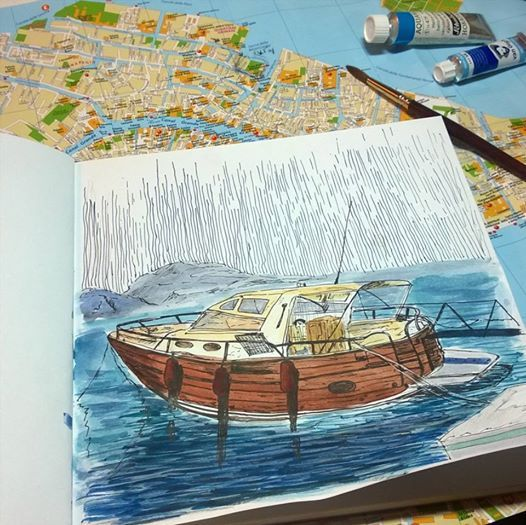 boat.  watercolors. graphic arts. sketch