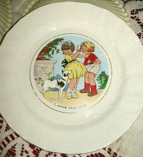 Superbe assiette parlante ancienne decor d 39 enfants de for Assiette de decoration