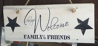 Altholz Schild WELCOME FAMILY+FRIENDS Upcycling weiss in Möbel & Wohnen, Dekoration, Schilder & Tafeln | eBay