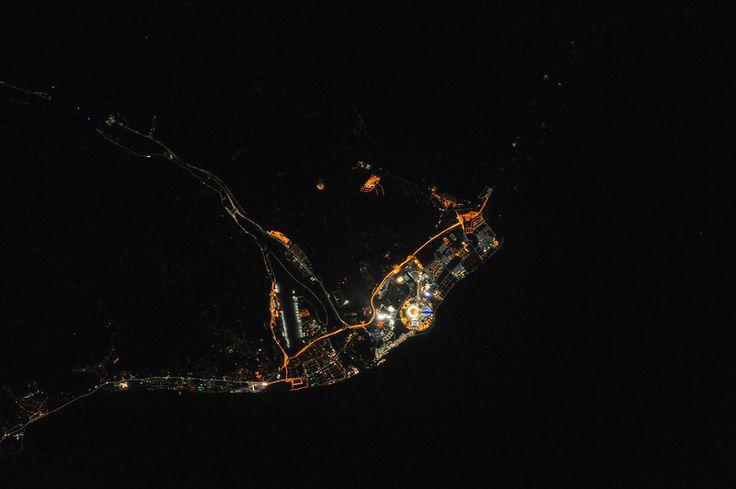 Сочинский Олимпийский парк в ночное время из МКС
