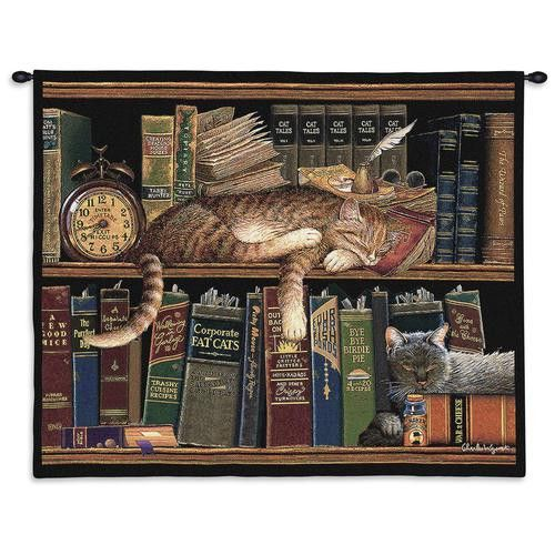 Remington Cat Wall Hanging. Charles Wysocki was a master at capturing character in cats and in settings. This piece is no exception. In this image, Remington and a companion are surrounded by whimsically named literary works while they napped away. Even the ticking clock can't wake them up.