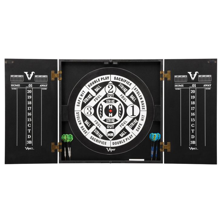 Viper Hideaway Dartboard Cabinet with Reversible Traditional and Baseball Dartboard - 40-0375