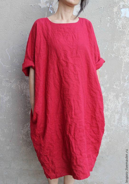 Купить Льняное платье - бордовый, платье летнее, льняное платье, бежевый, белый, черный, голубой