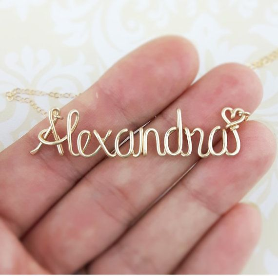Gold Name Necklace Custom Name Necklace by deannewatsonjewelry