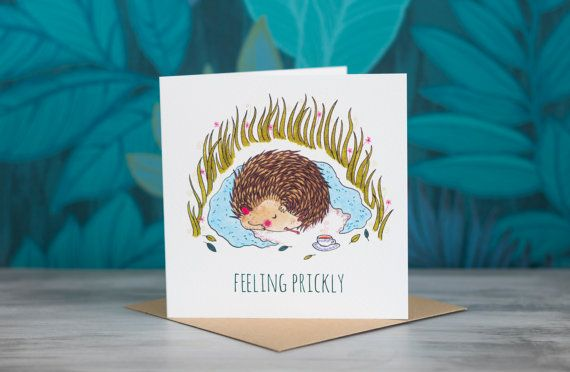 Hedgehog Greeting Card - 'Feeling Prickly' by PaperVeilStationery now at http://ift.tt/2HV9PdU