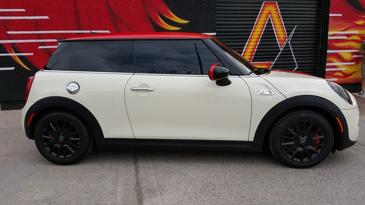 2016 Mini Cooper Racing Stripes  1) Gloss Red Wrapped Roof 2) 20% Window Tint 3) Headlight & Taillight Dechrome  4) Custom Racing Stripes in Gloss Red & White 5) Side Mirrors Wrapped w/Red 6) Headlights Tinted  7) Partial Interior Wrap in Gloss Red  8) Brake Calipers Wrapped Gloss Red Reflective