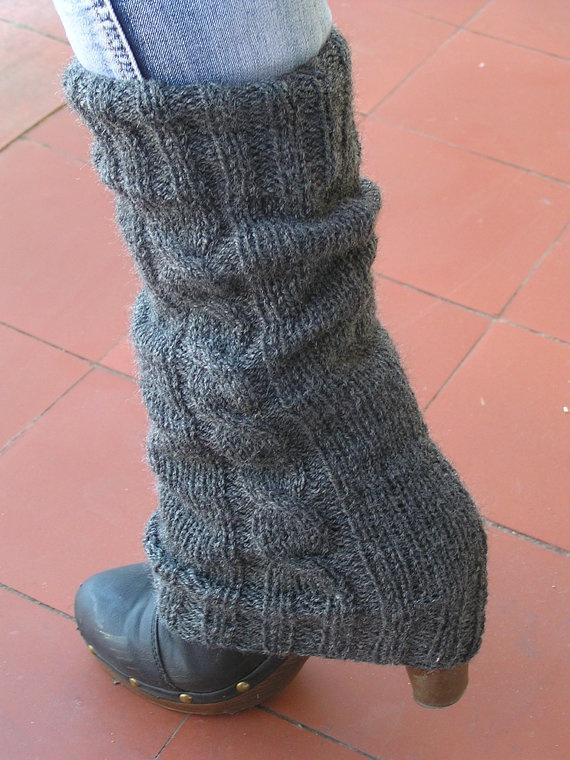 LEG WARMERS Knit Grey Braided Knitted Gray Leg by NATgirona, via Etsy