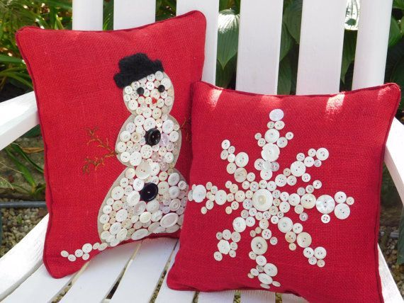 Not just for the Holidays, but perfect for your Winter Decor - Enjoy! Holiday Snowflake Pillow, Red Burlap Pillow, Holiday Pillow, Christmas Pillow - I am working hard at keeping up with stock on these pillows, they sell rather quickly - if you would like more than one, please