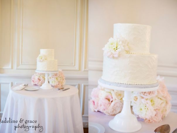 A Romantic And Airy Two Tiered Wedding Cake With Floral Accents Complimented Perfectly Pastel Reception