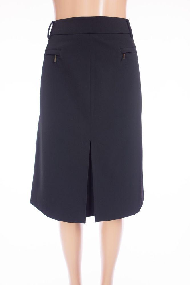 MAX MARA Weekend Classic Black Skirt 12 L Black Pleated Slit Business Casual #MaxMara #ALine