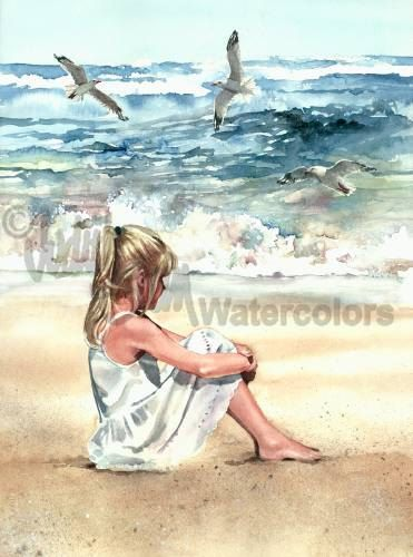 Beach Breeze is an Open Edition Giclee Art Print from a watercolor featuring a young girl sitting on the beach watching seagulls. This is a