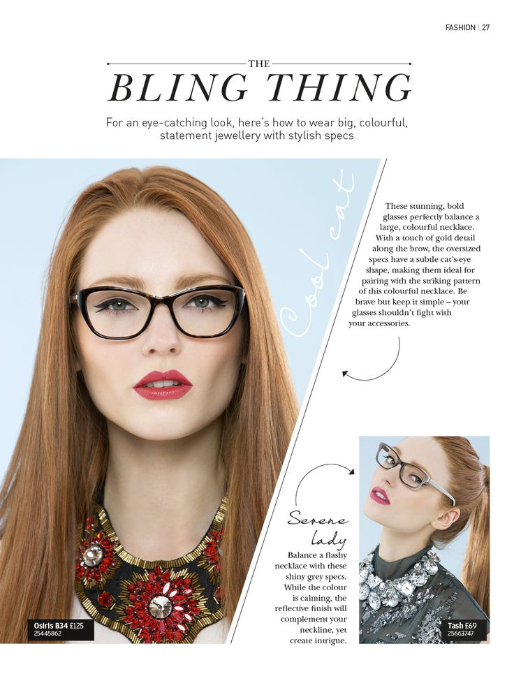For an eye-catching look, here's how to wear big, colourful, statement jewellery with stylish specs