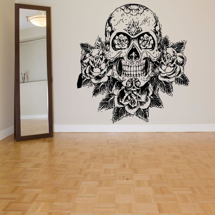 wall room decor art vinyl sticker mural decal sugar skull rose big large as1077 coolness. Black Bedroom Furniture Sets. Home Design Ideas