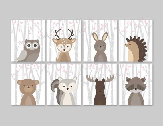 Baby Girl Nursery Decor Woodland Animals Pink Forest Animal Prints Set Owl Deer Rabbit Bear Squirrel Moose Raccoon