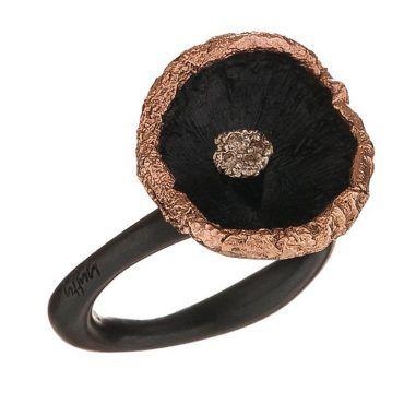 Δαχτυλίδι μανιτάρι Huffy ασημένιο με μαύρο πλατίνωμα και ροζ χρυσές λεπτομέρειες και διαμάντια | Δαχτυλίδια HUFFY ΤΣΑΛΔΑΡΗΣ στο Χαλάνδρι #δαχτυλιδι #huffy #ροζ #μαυρο #διαμαντια