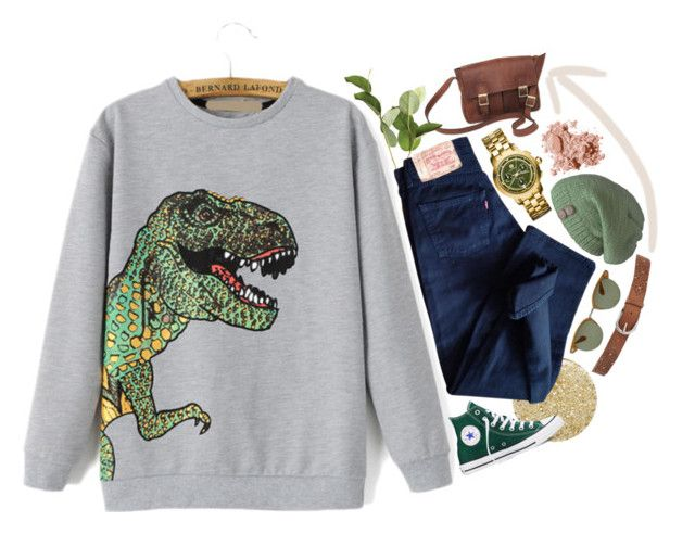 """""""#9  T-rex"""" by alzbeta-zlochova ❤ liked on Polyvore featuring Lancôme, NOVICA, OKA, Levi's, Converse, Bobbi Brown Cosmetics, Oliver Peoples, Laundromat, Tory Burch and Lucky Brand"""