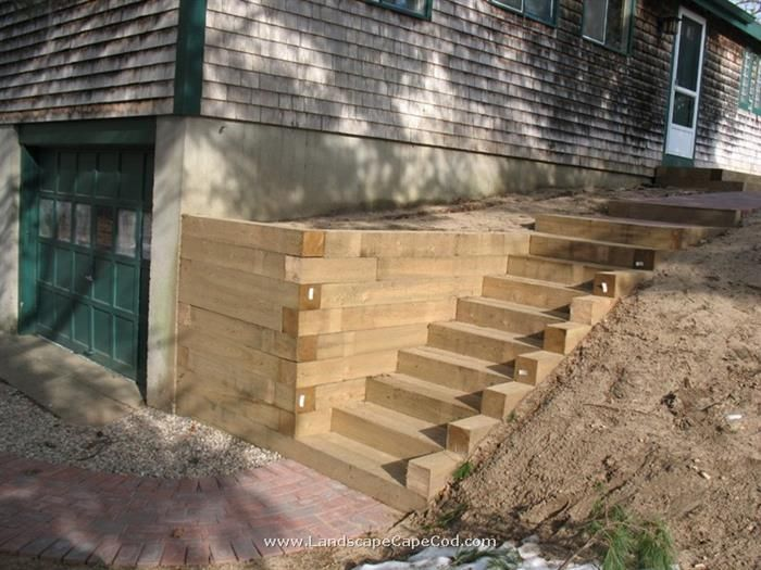 ideas for landscape timbers timber retaining wall stairs - Timber Retaining Wall Designs