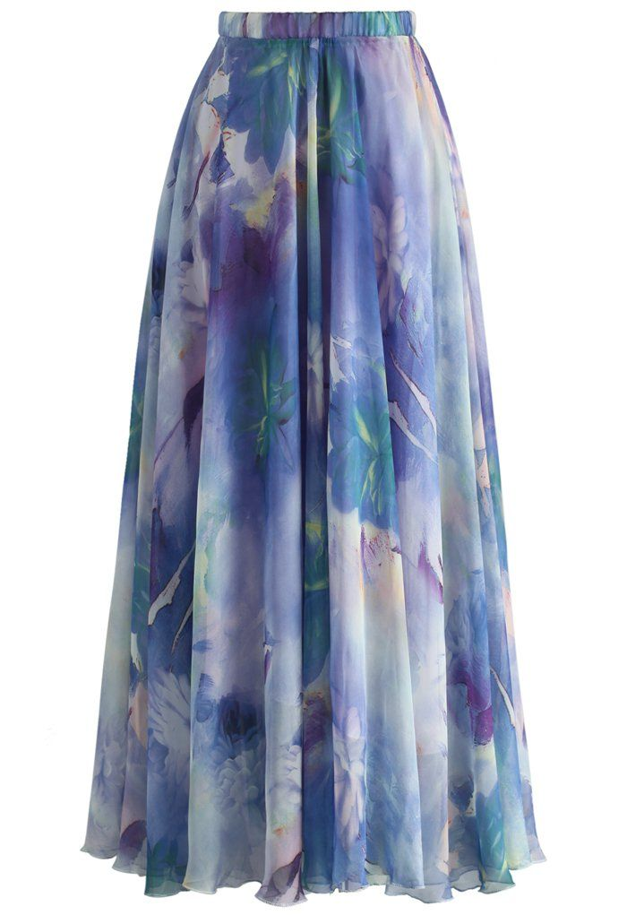 Dancing Watercolor Floral Maxi Skirt in Violet - New Arrivals - Retro, Indie and Unique Fashion