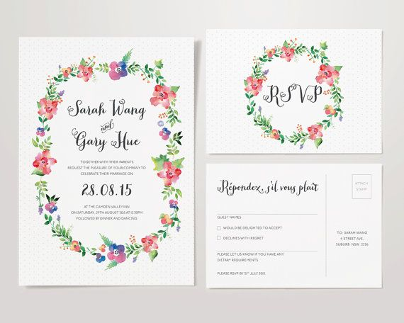 'Floral Watercolour Monogram' Set    Oscar & Roxie know how expensive wedding stationery can be, that is why we have created these affordable,