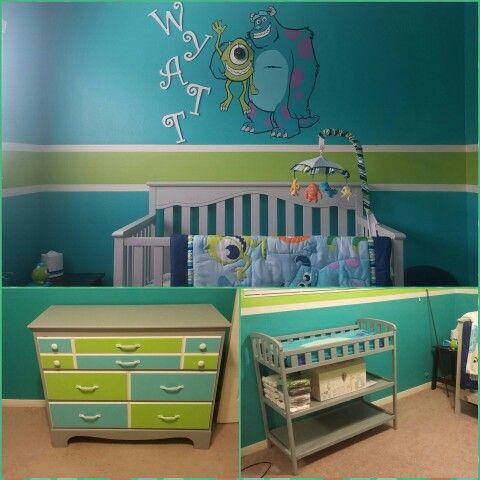 by Cherie W and Jordan M. Monsters inc theme nursery for our baby boy. Mike's eye is the baby monitor.