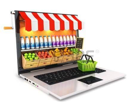 Laptop supermercado 3d, fondo blanco, imagen 3d