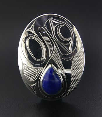 Barry Wilson, Sterling Silver Pendant with Lapis, Hummingbird, Northwest Coast Native Art