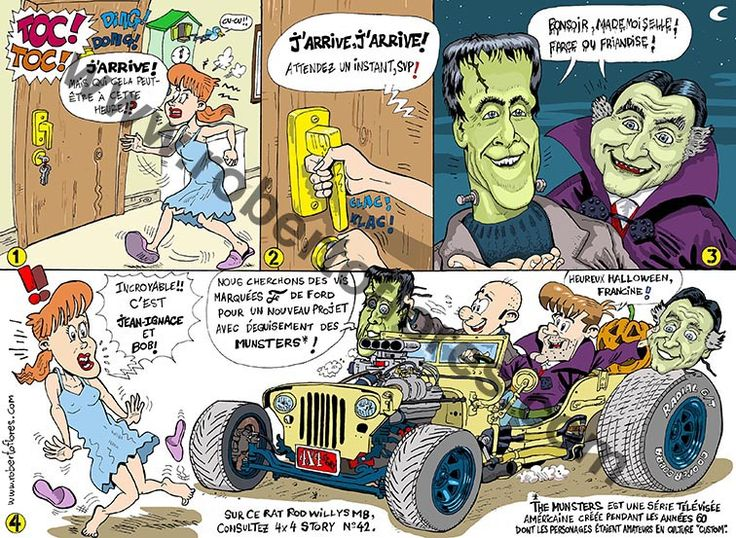 One of my #comics or #cartoon for French bimontly magazine 4x4 Story, issue 59, Nov.-Dec. 2014. Vive la #jeep, et aussi le #custom et les #hotrods!!! And #tv series #TheMunsters!