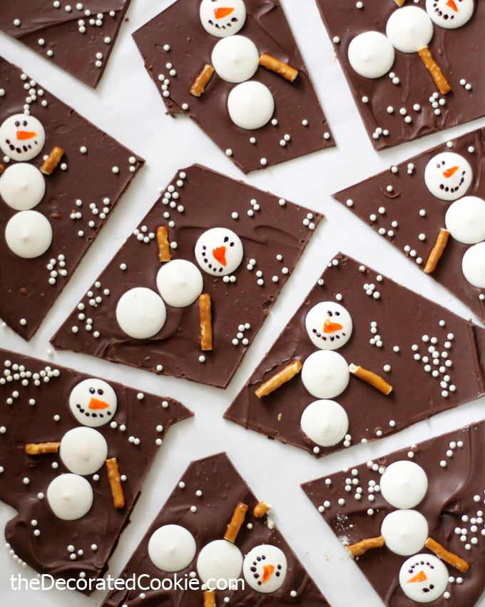 Snowman Chocolate Bark