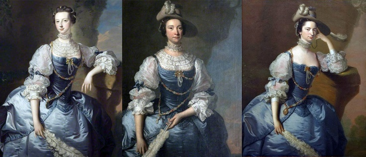 "Same Gown, Different Georgian Face. Mrs Emma Harvey c.1750/59 (L), Mrs John Parker c.1755/60 (center), and Margaret, Lady Oxenden c.1755/56 (R), all painted by Thomas Hudson, and all wearing the ubiquitous ""Van Dyk"" party frock and jewelery (not their own). Hudson painted the faces while a specialist drapery painter did the rest! The 18thC equivalent of the ""glamor photo shoot"" package available today!"