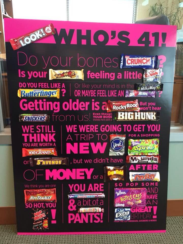 40 candy bar poem. Vinyl. Birthday.