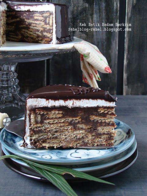KEK BATIK BADAM BERKRIM Sumber:SAJI,November,2012 (Chef Sherson Lian)  Bahan-bahan kek: 150g coklatmasakan gelap-cincang kasar 428g biskut k...