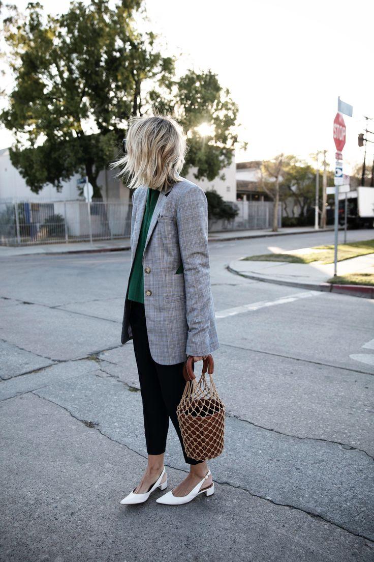 Grey blazer, green sweater, black ankle pants & white heels