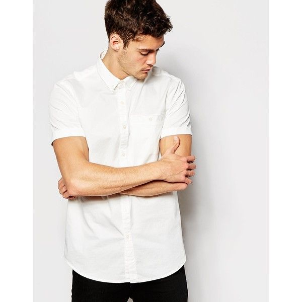 Jack Wills Shirt in Cotton Poplin Short Sleeves (42 BRL) ❤ liked on Polyvore featuring tops, white top, white short sleeve top, short sleeve shirts, shirt tops and white shirt
