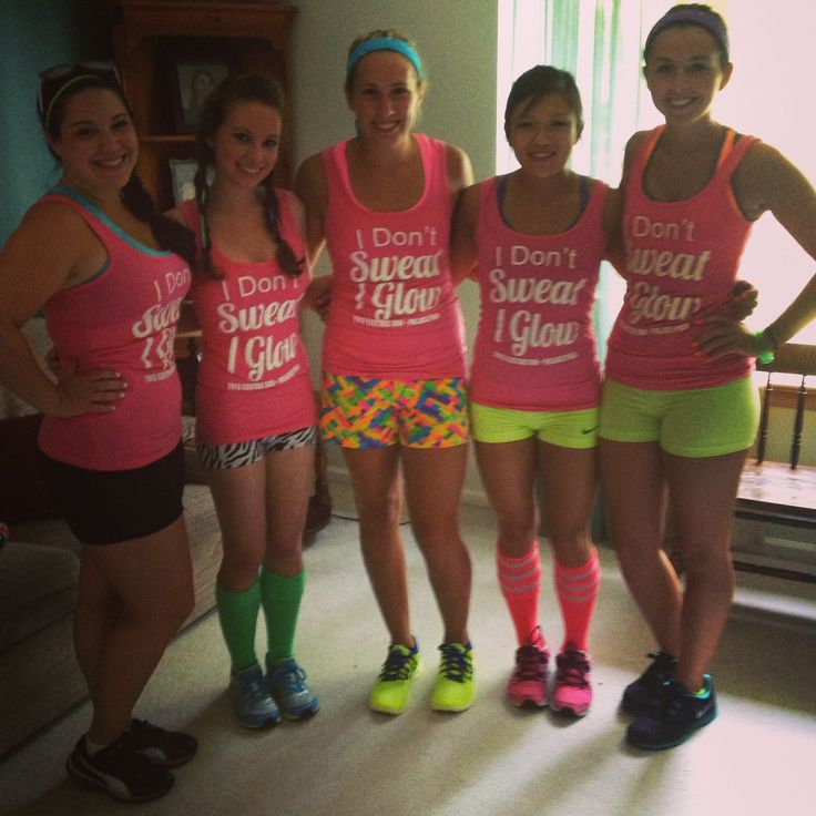 Electric Run shirts. Glow in the dark ink. Someone get these girls signed up for GlowGo 5k 2014 !