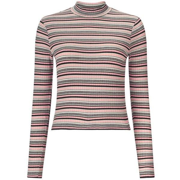 Miss Selfridge Pink Stripe Turtle Neck Top found on Polyvore featuring tops, pink, white turtleneck, pink crop top, pink long sleeve top, ribbed crop top and pink top