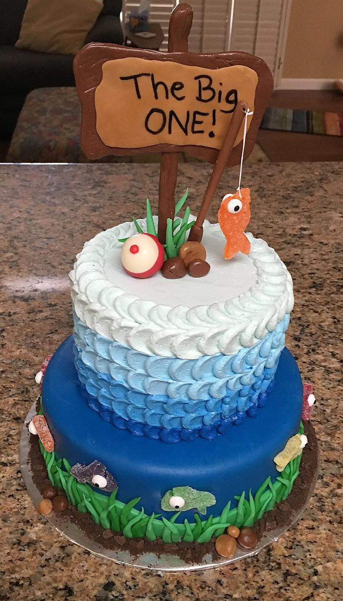 Awesome The Big One Boys First Birthday Cake Fishing Themed Birthday Funny Birthday Cards Online Overcheapnameinfo