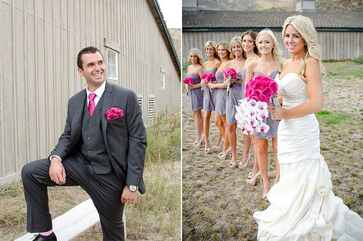 #Wedding #Magenta and #Gray Don't like the groom's look but I love the bridesmaids dress color with the bouquet color