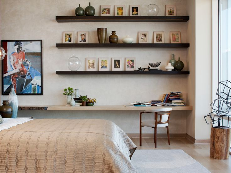 Floating Wall Shelves Bedroom Modern with Abstract Art Bedroom Desk Beige Bedding Beige Wall Black Floating Shelf Black