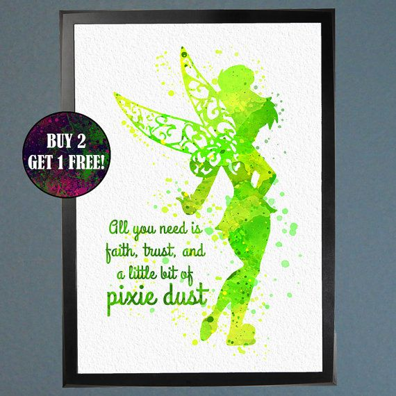 Tinker Bell Typography Pixie Dust Watercolor by WatercolorFontaine