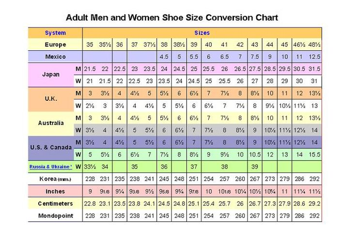 shoes inch to size chart business
