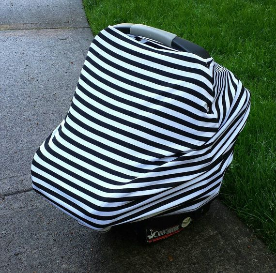 Stretchy Car Seat Cover/Canopy - Gender Neutral Black & White Stripes- Also functions as Nursing/Highchair/Shopping Cart Cover