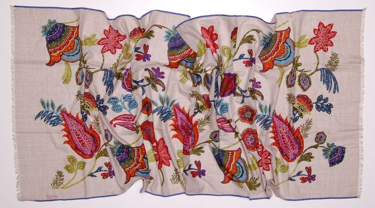 cashmere and wool scarf, hand embroidered in India