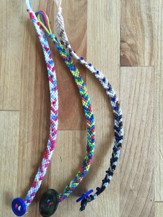 Handmade string bracelet! Each bracelet is unique! Chevron pattern with tie dye string, with color-coordinated beads attached! Button enclosure