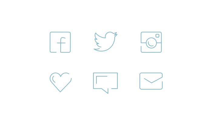 Minimal Social Line Icons Free PSD