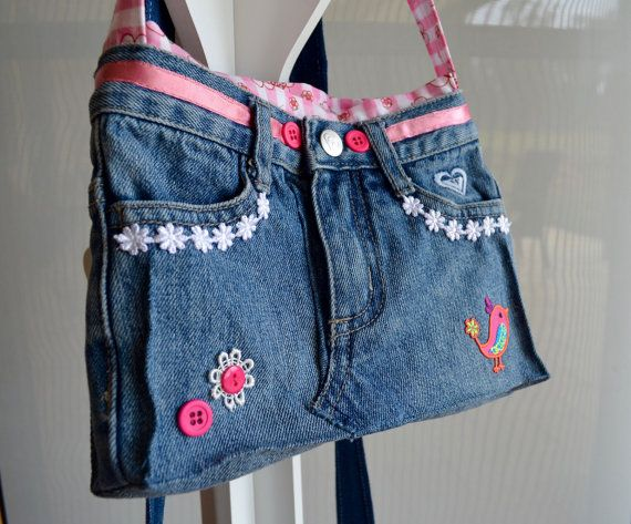 Girls jean bag small denim bag pink gingham by RobynFayeDesigns