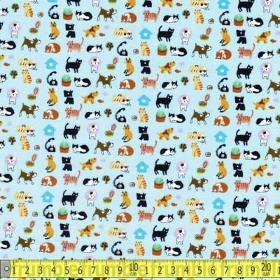 Sevenberry - Tiny Cats in Blue - 100% Cotton
